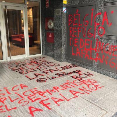 Així ha quedat el consolat de Bèlgica a Barcelona després de l'atac de La Falange