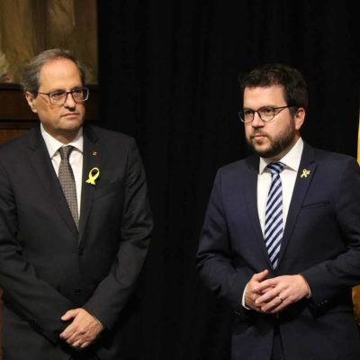 El president de la Generalitat, Quim Torra, i el vicepresident, Pere Aragonès/ Núria Julià