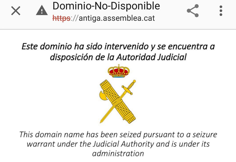 El web de l'ANC, quan va ser tancada amb una ordre judicial