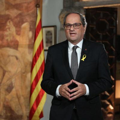 El president durant el missatge institucional per la Diada/ Jordi Bedmar - Gabinet de Comunicació
