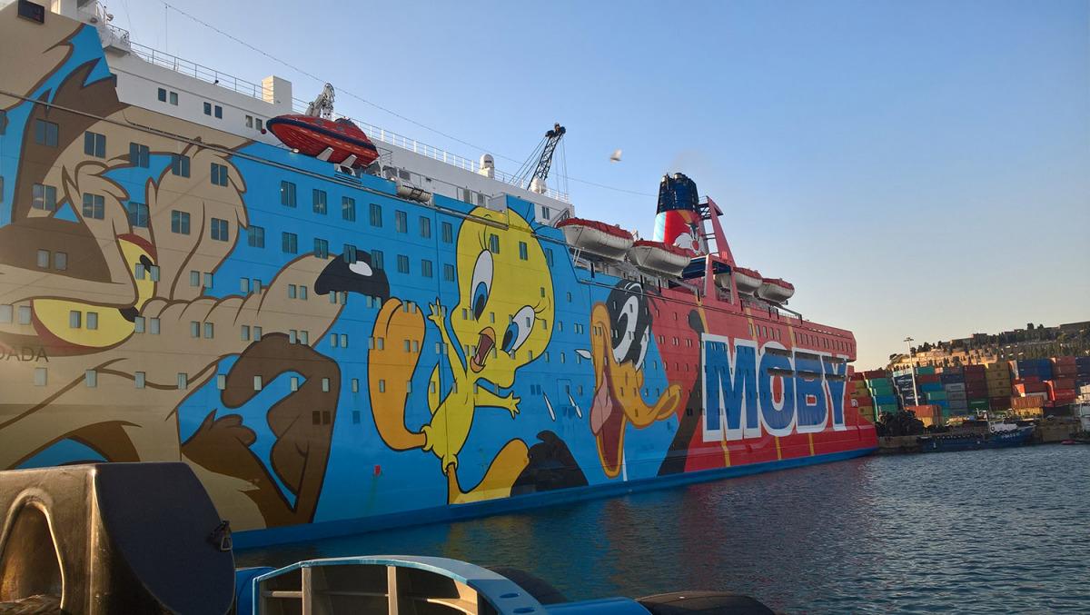 El vaixell Moby Dada, on es van allotjar alguns policies espanyols al Port de Barcelona