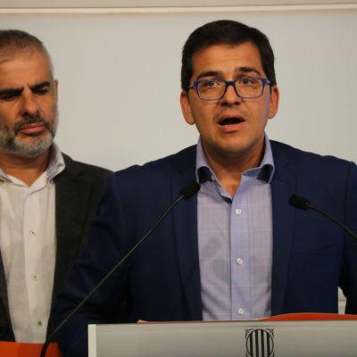 El diputat de Cs José María Espejo-Saavedra acompanyat pel portaveu de la formació Carlos Carrizosa/ Guillem Roset