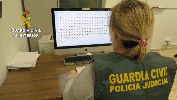 Un agent de la GC amb un ordinador