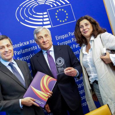 Tajani amb Rosiñol i Tey/ Twitter @EP_President