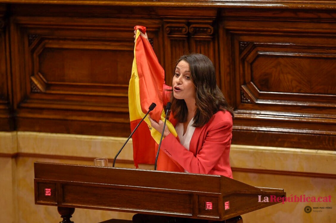 Inés Arrimadas amb una estanquera al Parlament
