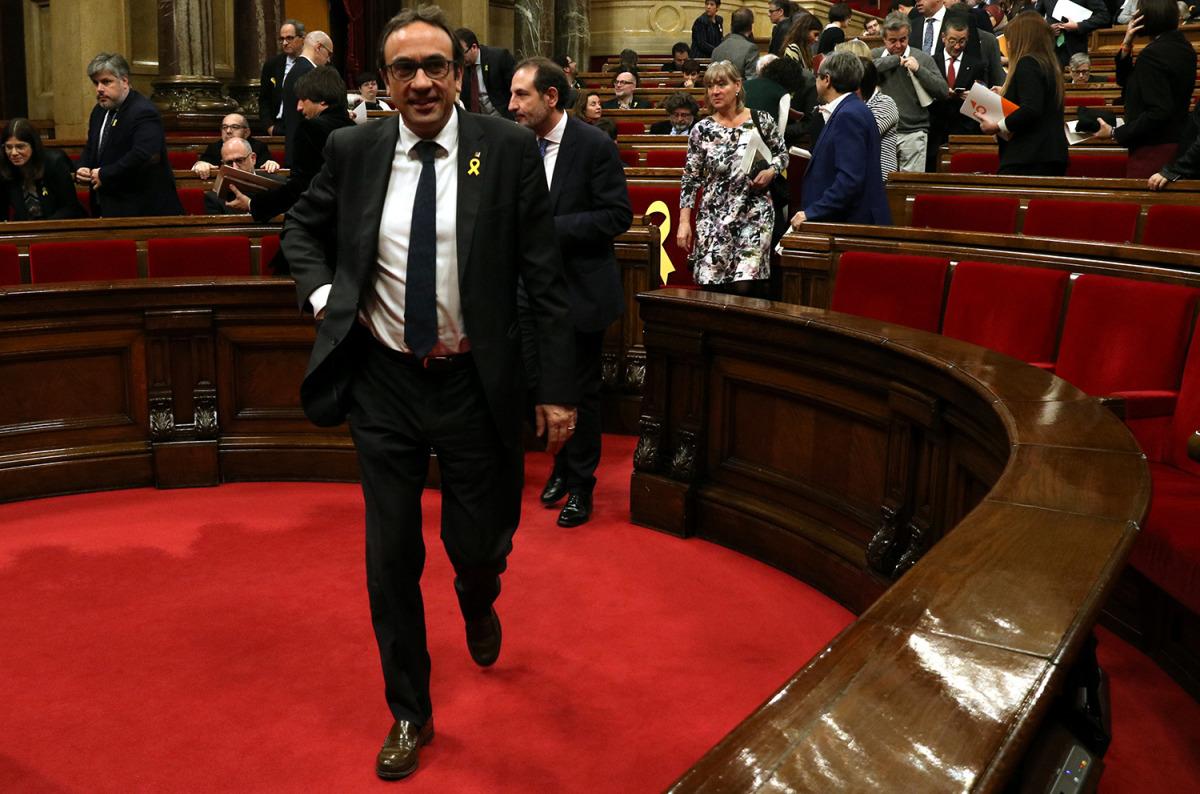 Josep Rull, al Parlament/ Elisenda Rosanas