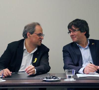El president Quim Torra i el president a l'exili Carles Puigdemont a Brussel·les