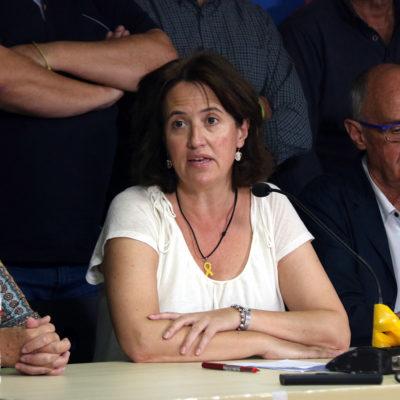 La presidenta de l'ANC, Elisenda Paluzie, acompanyada del Consell Permanent de l'entitat/ Pere Francesch