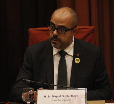 El conseller d'Interior, Miquel Buch, en un moment de la seva compareixença a la Comissió d'Interior / ACN