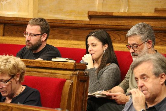 Els diputats de la CUP Vidal Aragonès, Maria Sirvent i Carles Riera