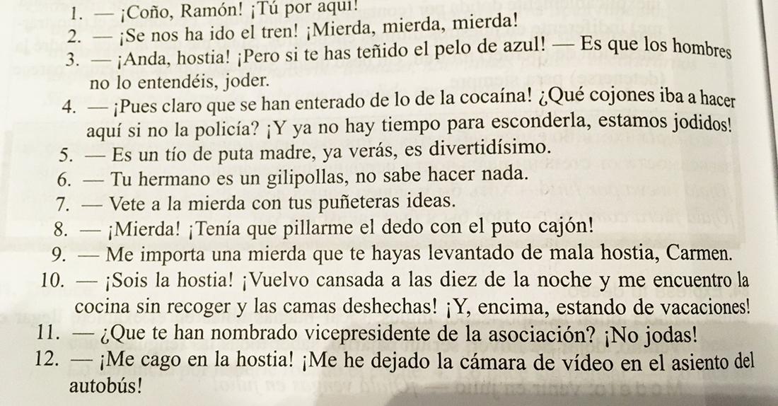 Una de les pàgines del llibre 'Español en vivo'/Twitter @heconstela