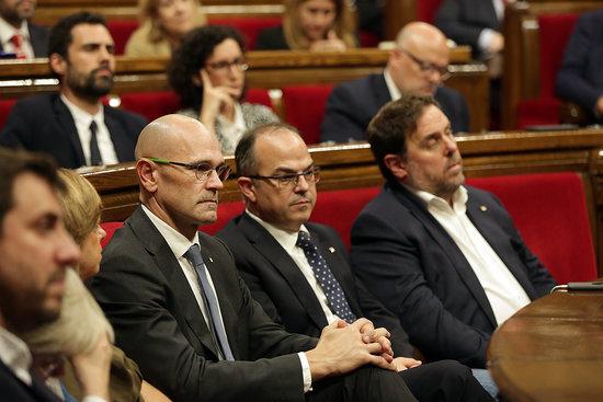 Raül Romeva, Jordi Turull i Oriol Junqueras, en una imatge d'arxiu / ACN