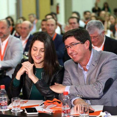 La líder de C's a Catalunya, Inés Arrimadas, i el candidat del partit a la Junta d'Andalusia, Juan Marín