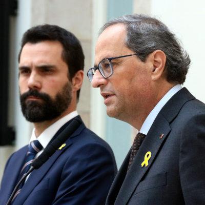 El president de la Generalitat, Quim Torra, i el president del Parlament, Roger Torrent
