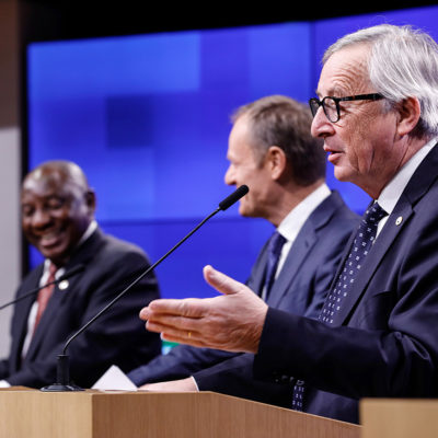 El president de la Comissió Europea Jean-Claude Juncker durant la roda de premsa de la cimera UE-Sud-àfrica