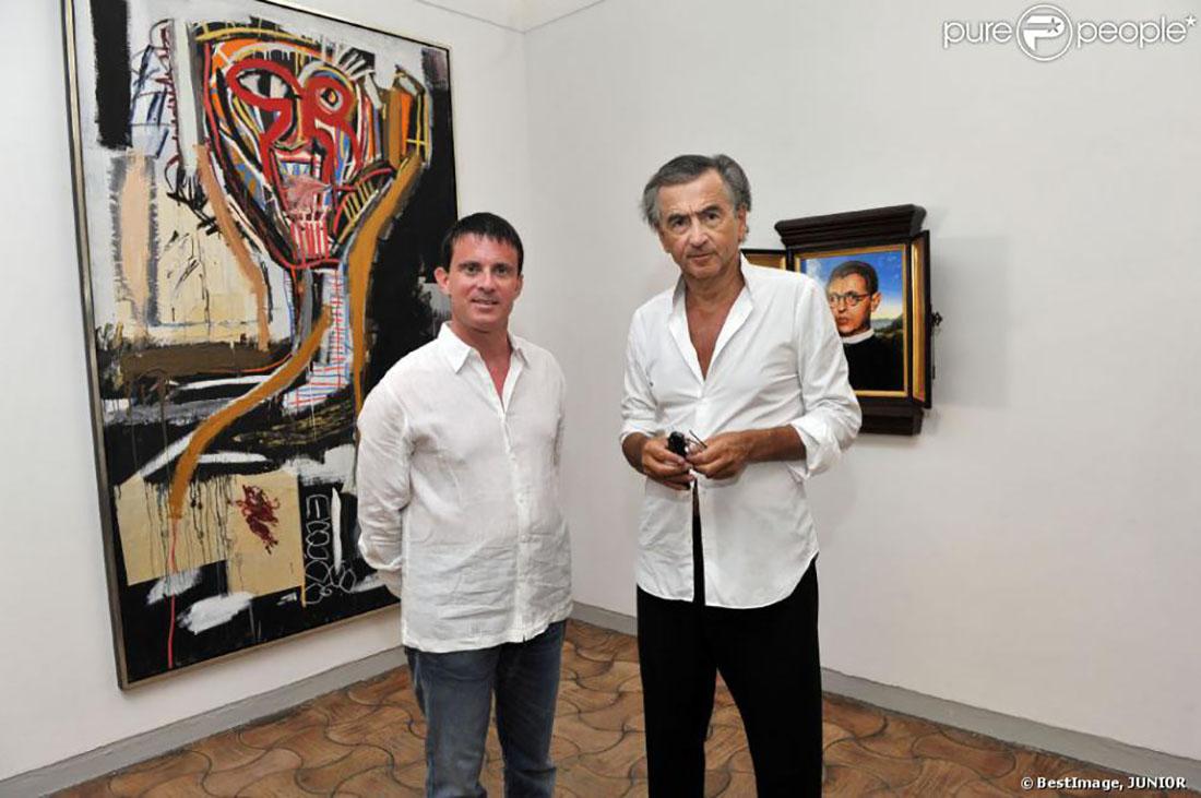 Manuel Valls amb Bernard-Henri Lévy/ Twitter @JuliaTaurinya