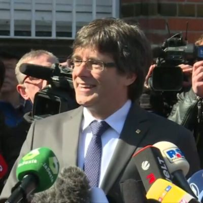Carles Puigdemont, en el moment de la seva sortida de la presó a Alemanya