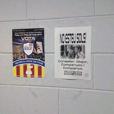 Cartells de sindicats independenistes dels Mossos d'Esquadra
