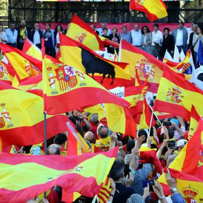 Un mar de banderes espanyoles en una manifestació unionista