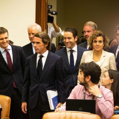 L'expresident del PP i del govern espanyol, José María Aznar, a la comissió d'investigació sobre el finançament il·legal del PP, el 18 de setembre de 2018