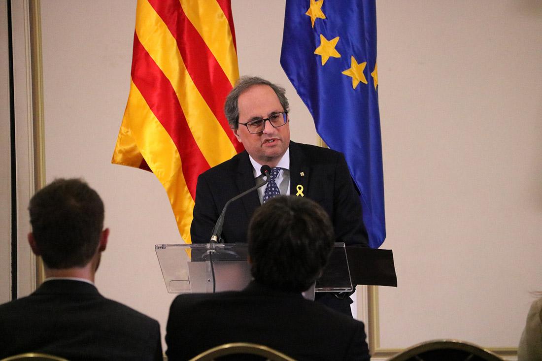 El president Quim Torra durant la seva intervenció a la conferència sobre el judici de l'1-O a Brussel·les