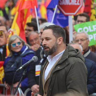 Santiago Abascal (VOX) a la manifestació catalanofòbica de Madrid