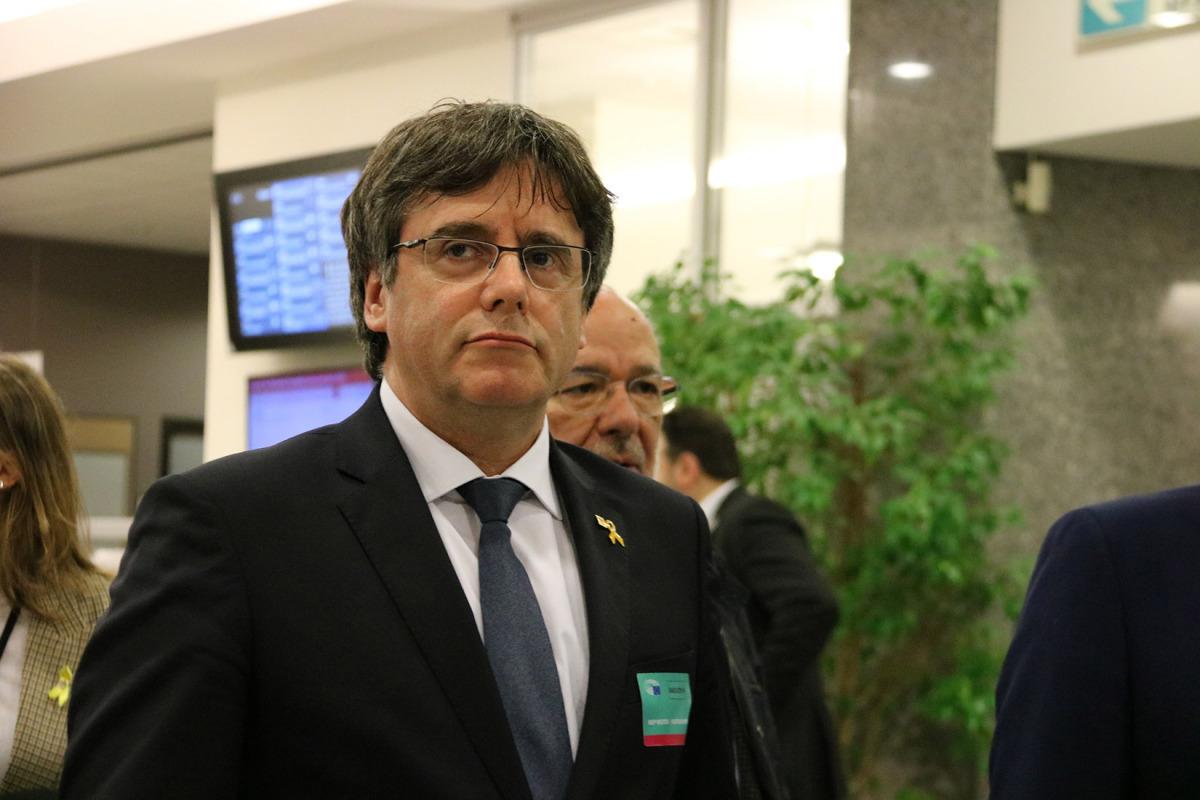 Carles Puigdemont a l'interior de l'Eurocambra el 4 de març del 2019