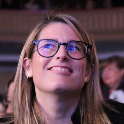 La número dos de la llista de JxCat a Barcelona, Elsa Artadi, al Casino l'Aliança (Poblenou), per l'acte de la candidatura