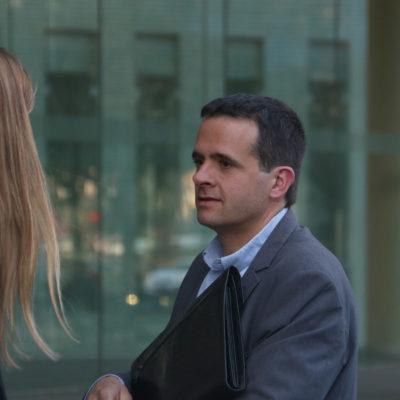 El director comercial i de màrqueting de la CCMA, Martí Patxot, en sortir de la Ciutat de la Justícia