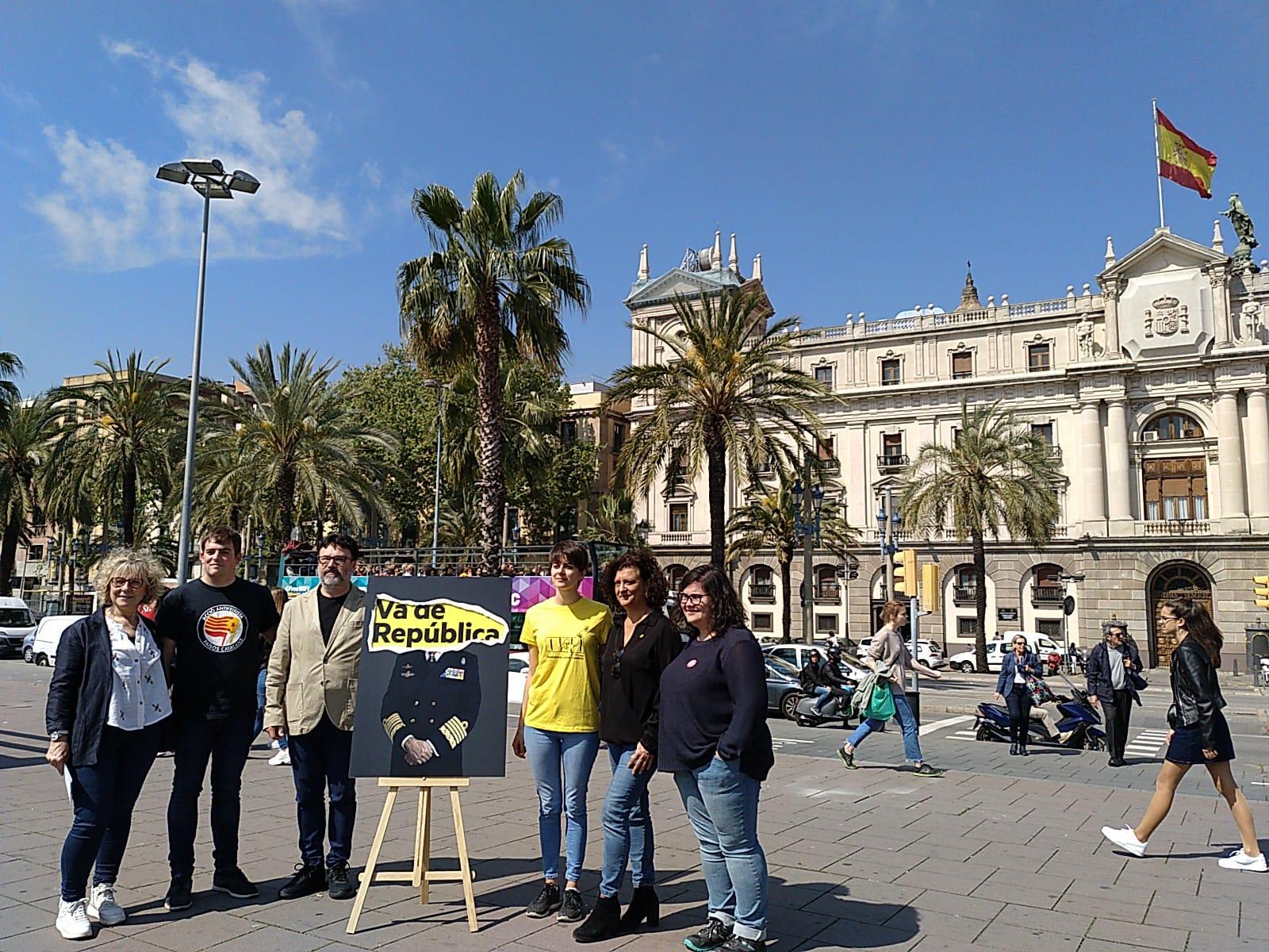 Acte de campanya d'ERC davant la Capitania General de Barcelona