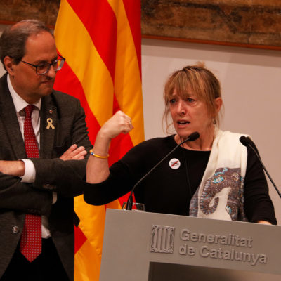 La Premi Nobel de la Pau, Jody Williams, i el president de la Generalitat, Quim Torra