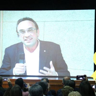 El cap de llista de JxCat per Tarragona, Josep Rull, en videoconferència des de Soto del Real