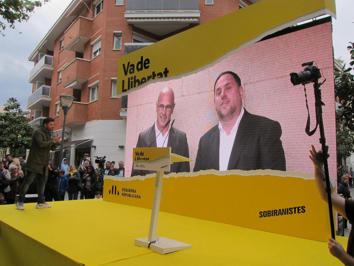 Romeva i Junqueras, en un acte de campanya d'ERC des de Soto del Real