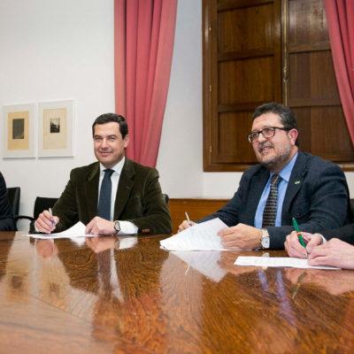 Signatura de l'acord d'investidura de Juanma Moreno com a president d'Andalusia entre el PP i Vox