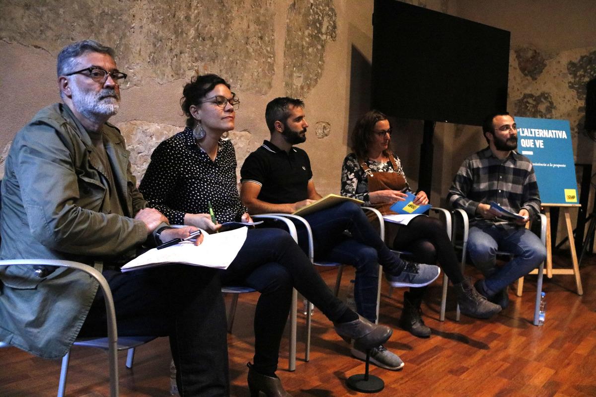 Albert Botran, Mireia Vehí, Natàlia Sánchez i Carles Riera a la conferència política de la CUP aquest 7 de maig del 2019/ ACN