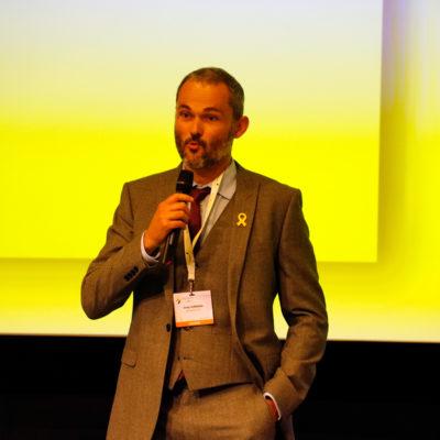 El regidor de medi ambient de l'Ajuntament d'Avià, Josep Subirana, durant l'entrega de premis en el marc de la Setmana Europea de l'Energia Sostenible, a Brussel·les el juny del 2019