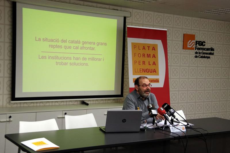 Òscar Escuder, president de la Plataforma per la Llengua, presenta l'InformeCAT 2019