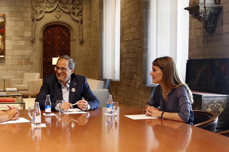 El president del Govern, Quim Torra, reunit amb la presidenta de Catalunya en Comú Podem, Jéssica Albiach, i la portaveu del grup parlamentari, Susanna Segovia