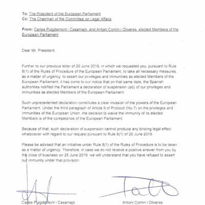 Captura de la missiva de Carles Puigdemont i Toni Comín enviada el passat 24 de juny al president de l'Eurocambra Antonio Tajani