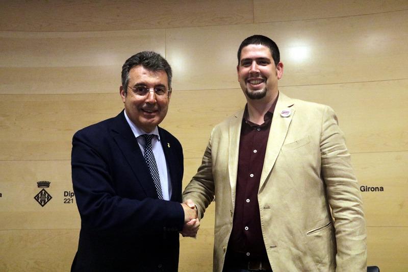 El president de la Diputació de Girona, Miquel Noguer, i el futur vicepresident primer Pau Presas durant la presentació de l'acord de govern