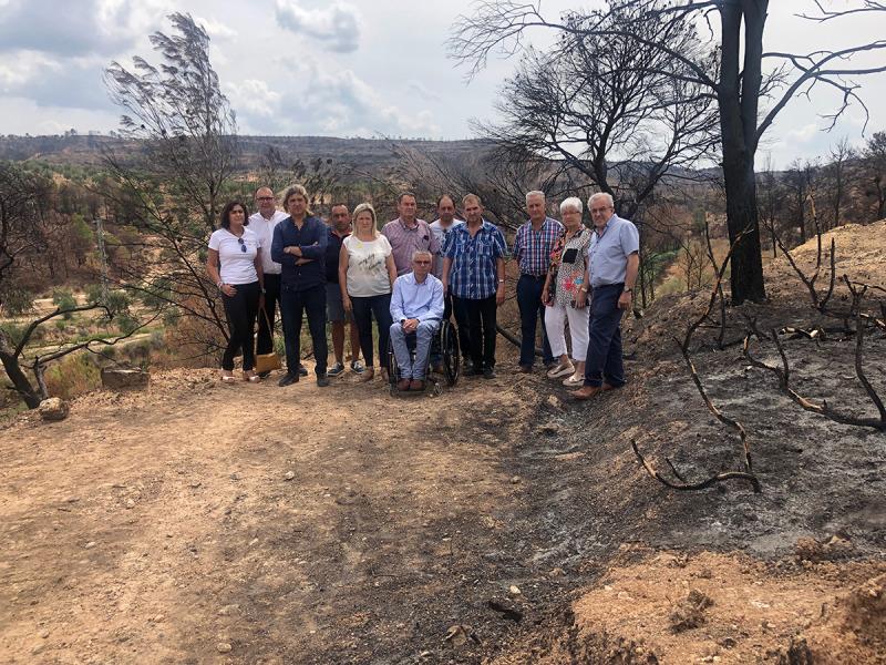 El grup d'alcaldes i càrrecs de JxCat a la zona de Bovera afectada per l'incendi de la Ribera d'Ebre