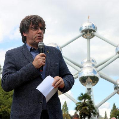 Carles Puigdemont durant l'acte convocat per l'ANC a Brussel·les amb motiu de la Diada