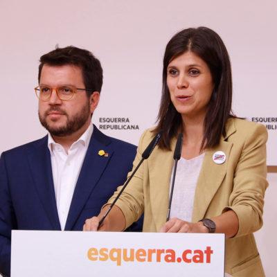 Pere Aragonès i Marta Vilalta durant la roda de premsa posterior a la primera reunió de la nova direcció del partit