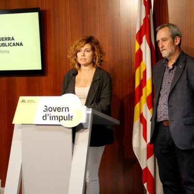 Pla americà amb els portaveus d'ERC al grup municipal de l'Ajuntament de Barcelona, Elisenda Alamany i Jordi Coronas