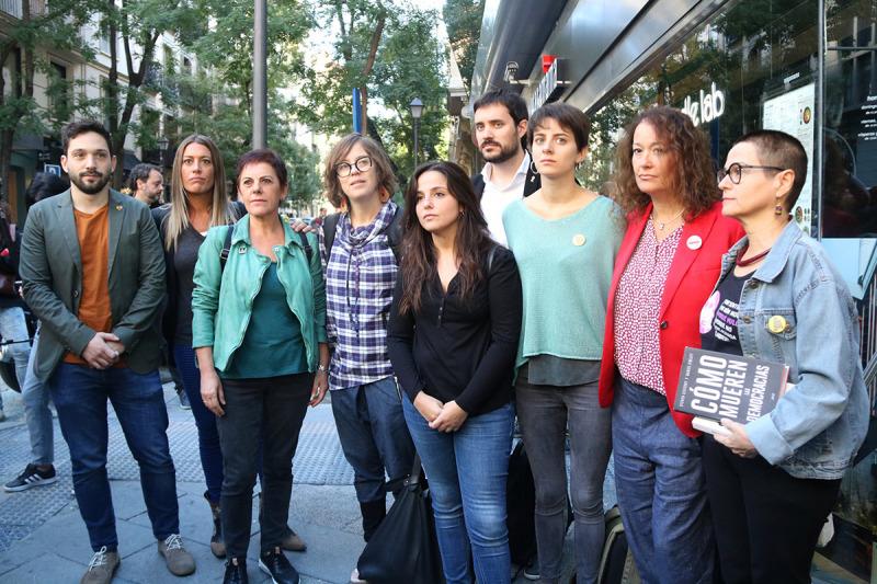 Representants d'ERC, JxCat, la CUP i EH Bildu a la concentració al costat de l'Audiència Nacional en suport als CDR detinguts