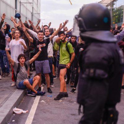 Imatge de la protesta a l'aeroport de Barcelona