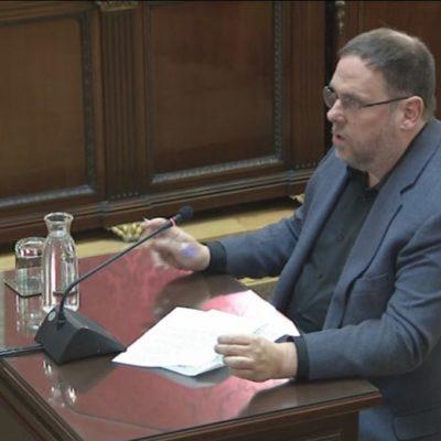 Oriol Junqueras, durant l'últim torn de paraula al Tribunal Suprem