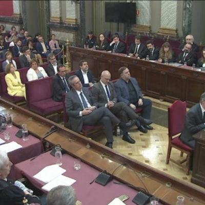 Pla general, extret de senyal institucional, de Jordi Turull durant l'últim torn de paraula al Tribunal Suprem