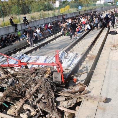 El tram tallat a les vies de l'AVE aquest dilluns 4 d'octubre de 2019 a Girona