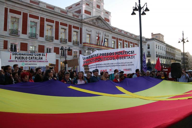 La concentració contra la sentència de l'1-O a Madrid, el 16 d'octubre de 2019